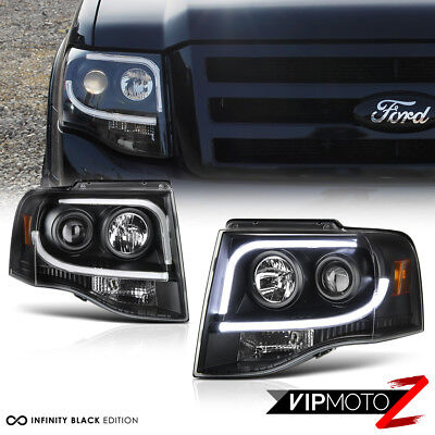 2007-2014 Ford Expedition SUV [Arctic Optic] Black Projector LED Neon Headlights
