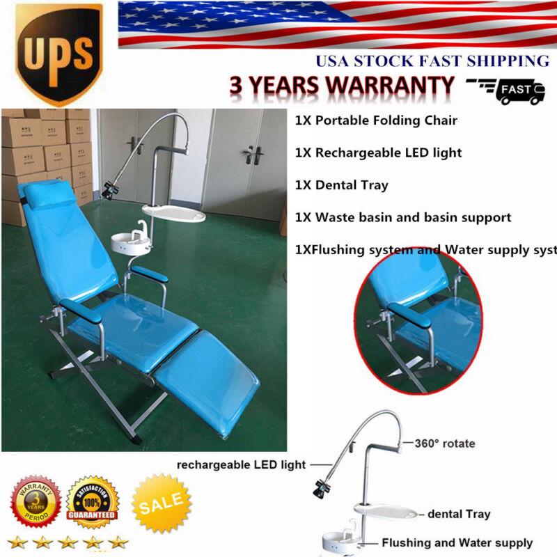 Dental Folding Chair Unit+Dental Curing Light+Waste basin +Dental Tray US Stock