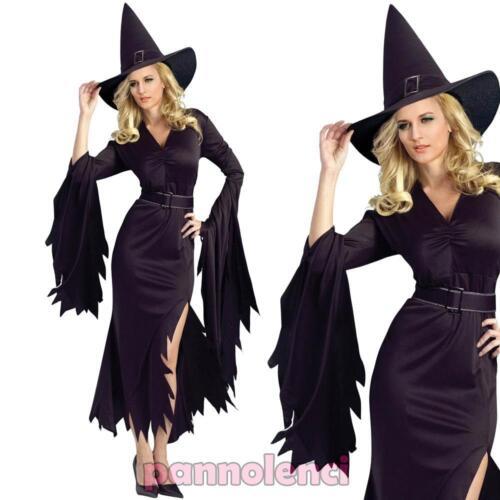 Costume di carnevale da strega composto da  abito lungo nero e cappello  coordinato. Da non perdere! Taglie disponibili  S corrisponde  indicativamente a una ... 9c6caaffc6e9