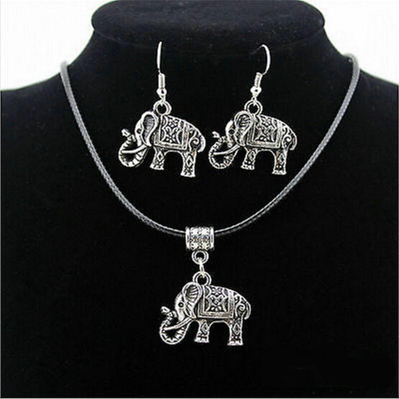 Vintage Retro Tibet Silver Elephant Pendant Necklace Earring