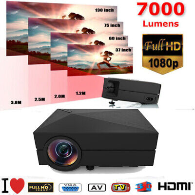 7000 Lumens 1080P LED 3D LCD VGA HDMI SD TV Home Theater Projector Cinema WF