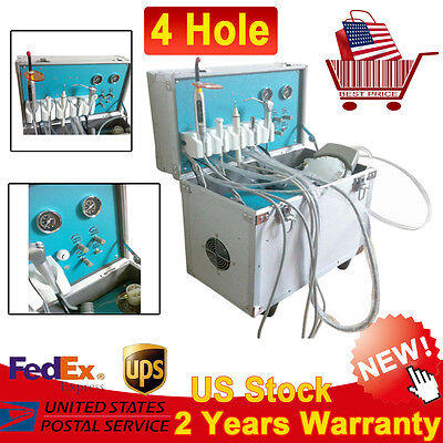 Mobile Delivery Dental Unit Rolling Caseair Compressor 4hole W Slow Suction