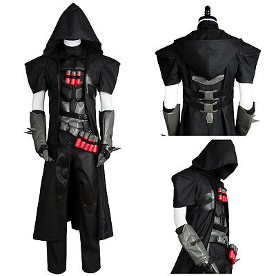 Game Overwatch OW Reaper Gabriel Reyes Cosplay Suit Uniform Coat Outfit Costume (Reaper Cosplay)