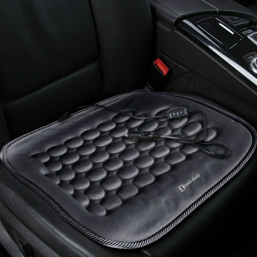 Zento Deals Hot Car Vehicle Heated Seat Cushion Cover Auto 12V Heater Warmer Pad