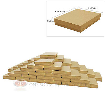 Large 50 Brown Kraft Cotton Filled Jewelry Gift Boxes 6 18 X 5 18 X 1 18h