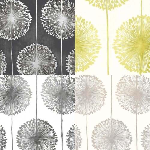Muriva dandelion floral wallpaper black grey cream for Grey and cream wallpaper