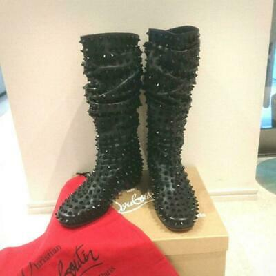 Christian Louboutin Studs Long Boots Black Ladies Size 35 Rare 2way Shoes