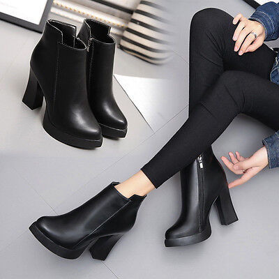 Winter High Heel Point Martin Boot Zip Short Thick Short Leather Ankle Boots