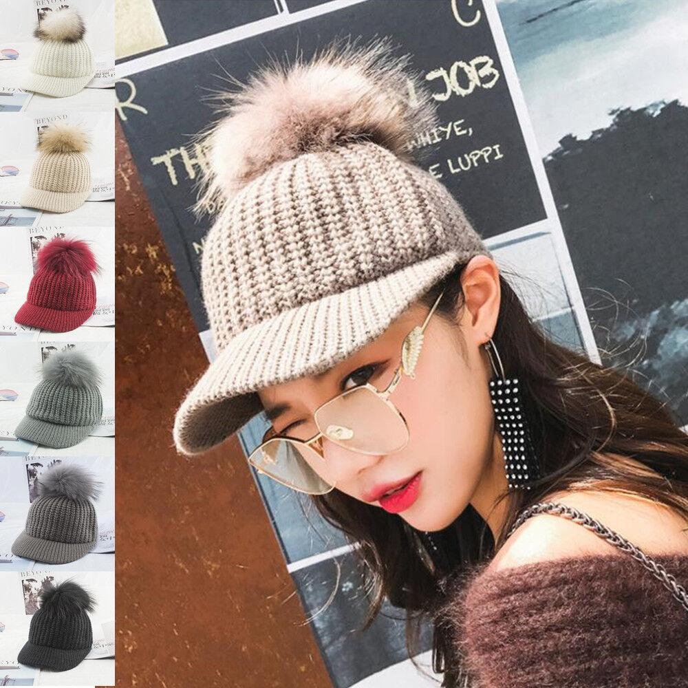b26b0c537 Details about Winter Warm Cap Crochet Knit Knitted Baseball Hat Fox Fur  Pompom Cap Women Girls