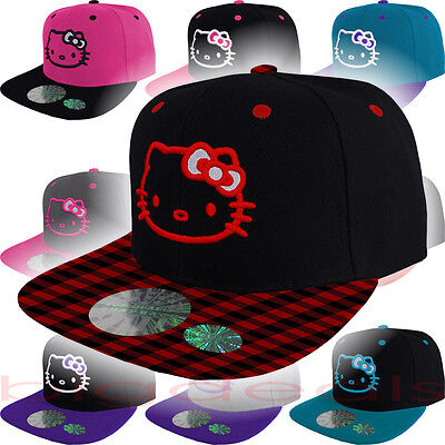 Hello Kitty Cap Logo Hat Snap Back Emblem Embroidered Women Adult Girls Cute 3D