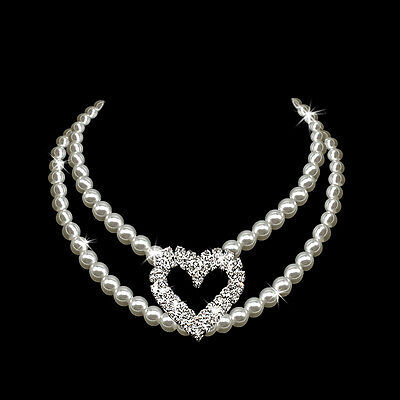 2 Row Bling Pearl Dog Necklace With Rhinestone Heart Pendant for Medium Dogs