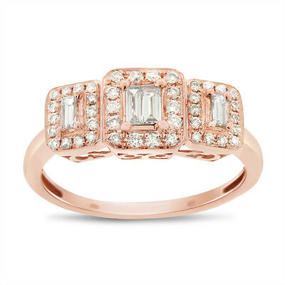 0.55 Ct. Natural Diamond 3 Stone Emerald Halo Illusion Ring In Solid 14k Rose Go