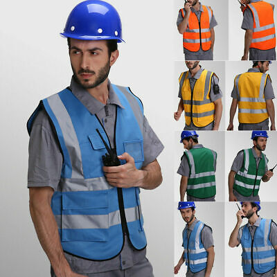 High Visibility Safety Security Reflective Vest Construction Traffic Worker Us