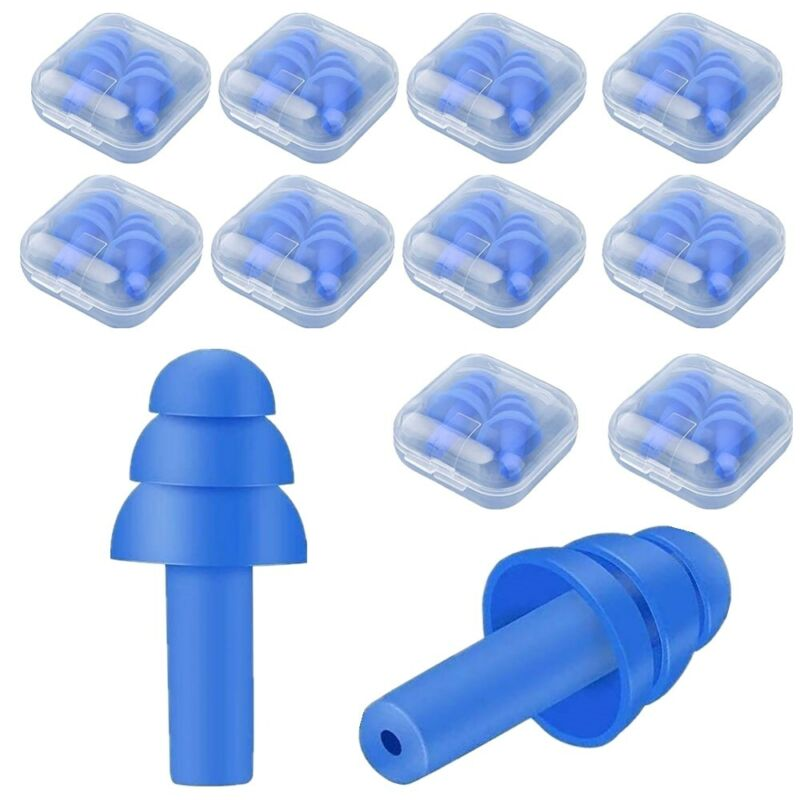 10 Pairs Anti Noise Soft Silicone Ear Plugs NRR 32dB for Sleeping Swimming Blue