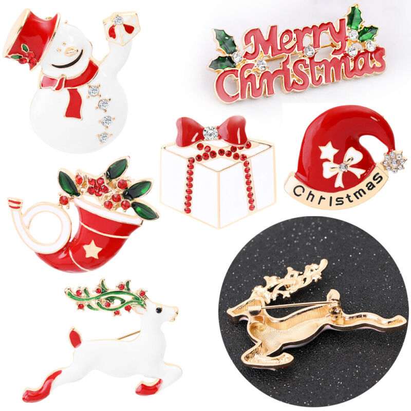 Merry Christmas Santa Claus Hat Badges Pin Enamel Brooch Christmas Wreath Bells