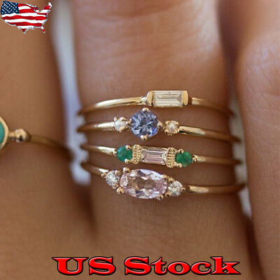 - US Boho 18k Yellow Gold Plated Round Cut White Topaz Crystal Ring Set Size 6-10