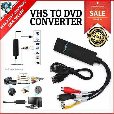 USB Video Capture Converter Analog To Digital VHS V8 S Video PC Windows NTSC PAL