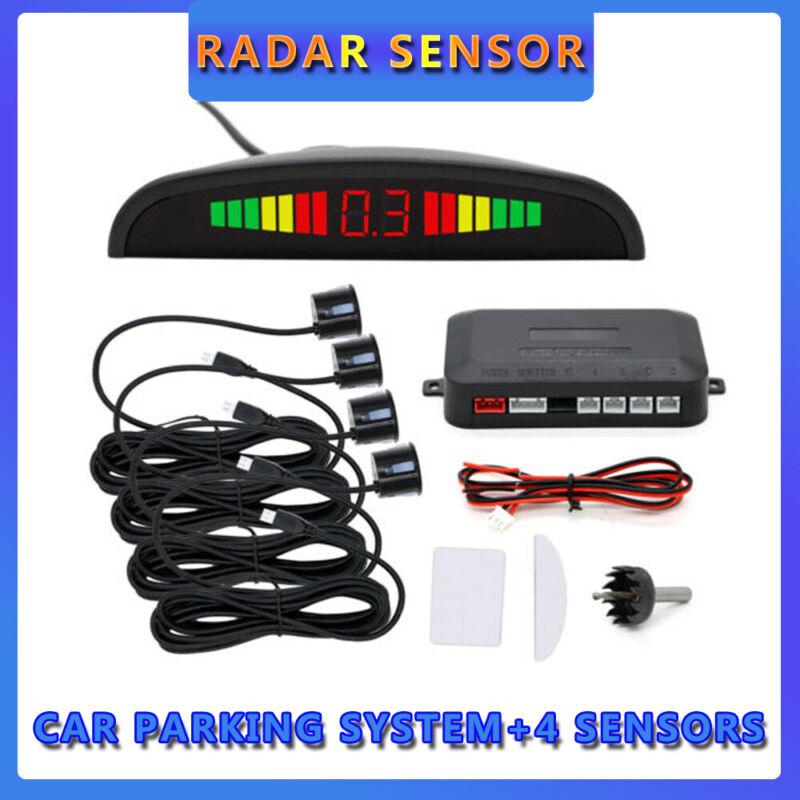 Car Reverse Parking Sensor Rear 4 Sensors LCD Display Audio Buzzer Alarm Kit