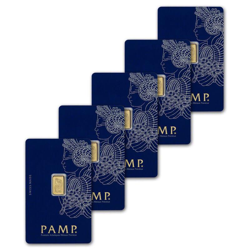 1 gram Gold Bar - PAMP Suisse - Fortuna - 999.9 Fine in Assay - Five 5 Bars