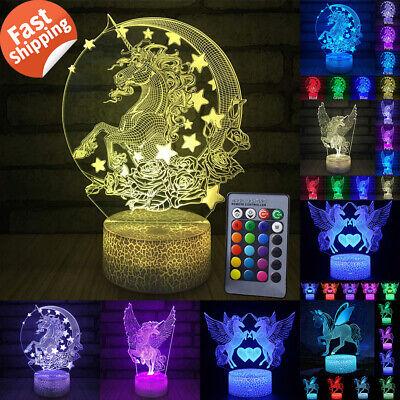 3D LED Unicorn-series Night Light Table Desk Lamp Remote Control Kids Xmas Gifts