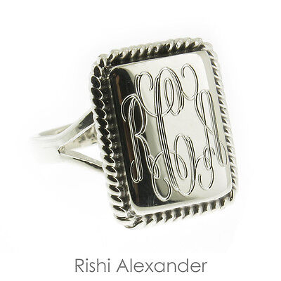 Sterling Silver Rectangular Ring (925 Sterling Silver High Polished Monogram Rectangular Rope Edge Signet)