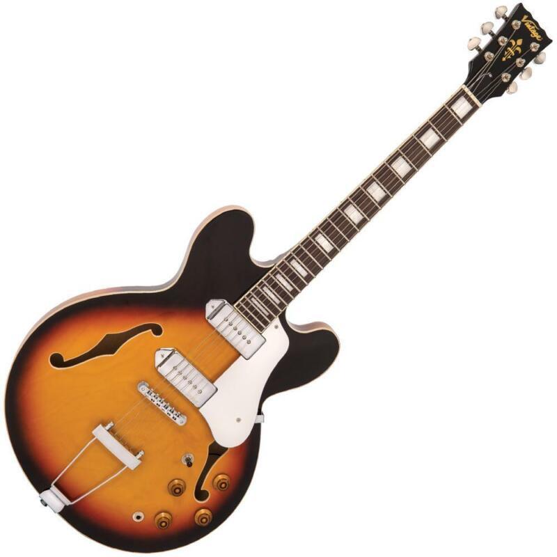 Vintage VSA500P ReIssued Semi Acoustic Guitar ~ Vintage Sunburst