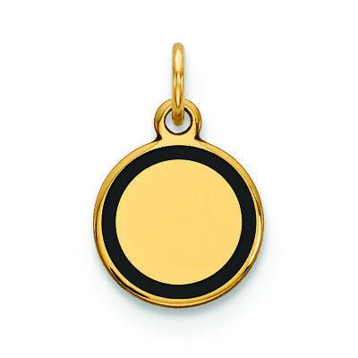 (14K Yellow Gold With Enamel .027 Gauge Circular Engravable Disc Charm Pendant)