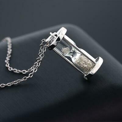 Hour Glass Pendant Necklace Women Diamond Dust 925 Solid Sterling New
