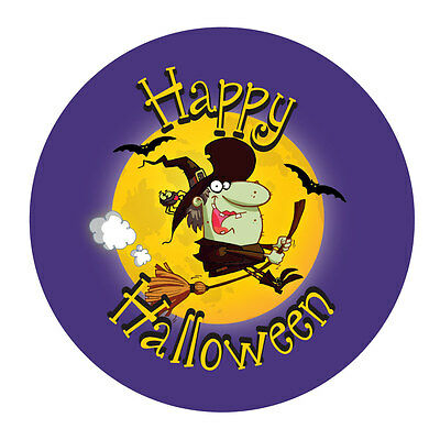 'Witch on Broomstick', Halloween,Trick or Treat stickers, 30mm diameter