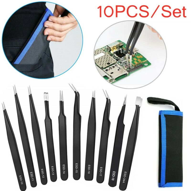 10PCS ESD Anti-Static Tweezers Set Maintenance Repair Stainless Steel Tools Kit