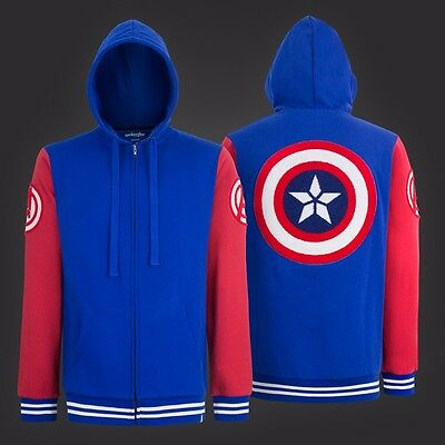 Captain America Shield Varsity Hoodie Adult Zip Up Hoodie](Captain America Shield Adult)
