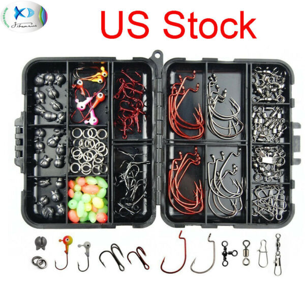 150pcs-Fishing-Accessories-Kit-Jig-HeadHooksSinkerSwivel-Snap-Fishing-Tackle