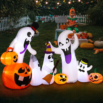 8 FT Blow up Outdoor Yard Decoration Halloween Inflatable Pumpkin Ghost & Light