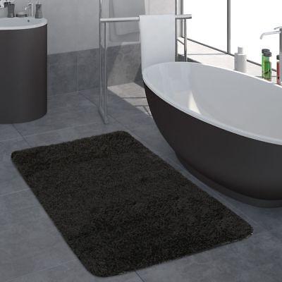 Moderner Badezimmer Teppich Einfarbig Hochflor Badteppich Rutschfest In Schwarz Rutschfest