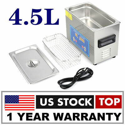 4.5l Ultrasonic Cleaner Ultra Sonic Bath Heater Tank Timer Jewelry Watch Vg