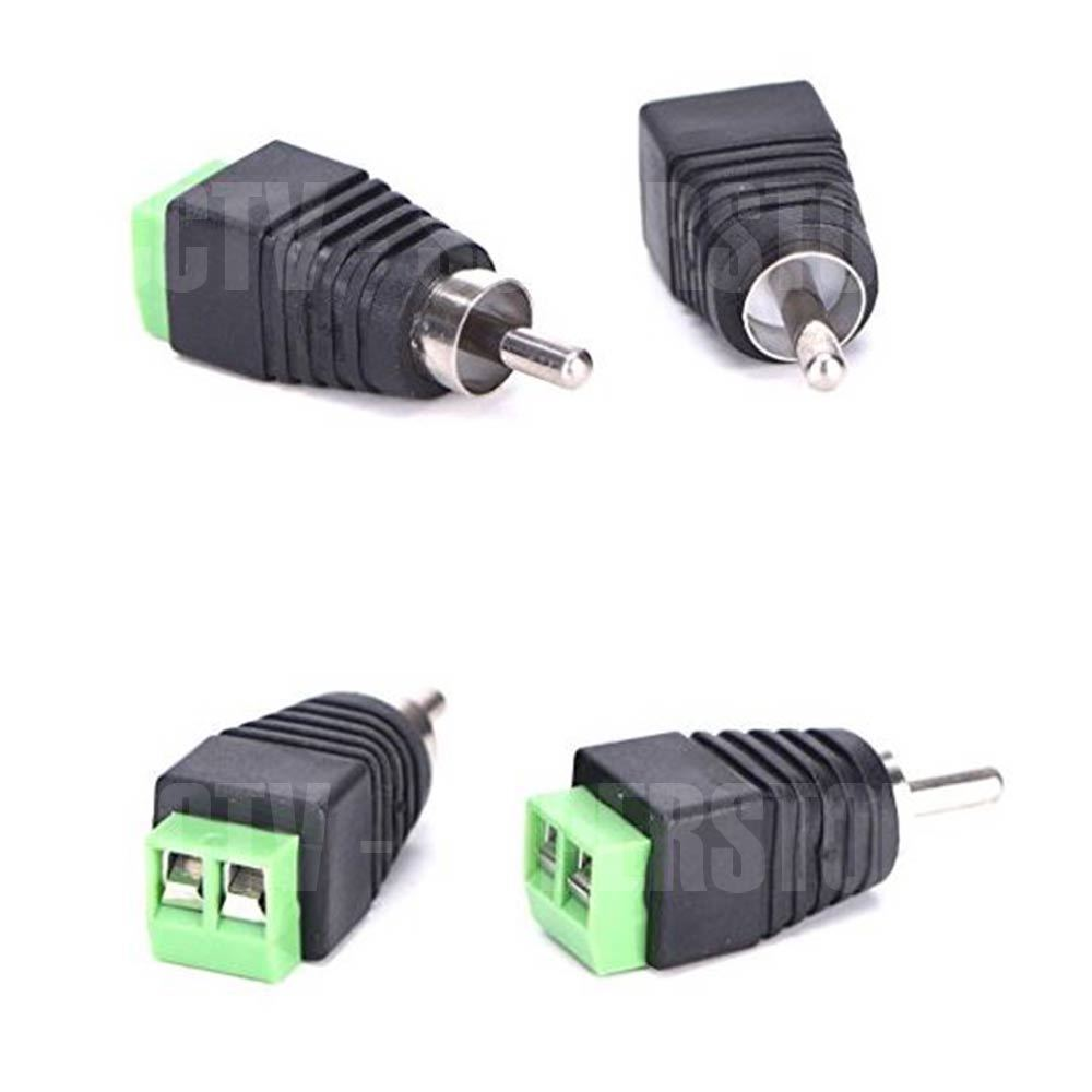 Details about Speaker Wire cable to Audio Male RCA Connector Adapter on