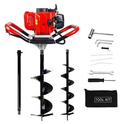 52cc Earth Auger Post Hole Digger Borer 2 X Drill Fence With Extension Pole Us