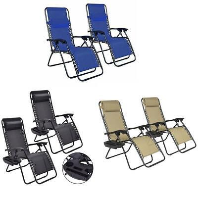 2PCS Folding Zero Gravity Reclining Lounge Chairs Outdoor Be