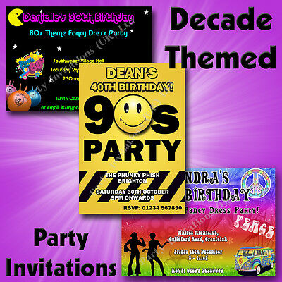 80s Themed Birthday Party (Personalised DECADE THEMED Birthday/Hen Party Invitations 50s 60s 70s 80s)