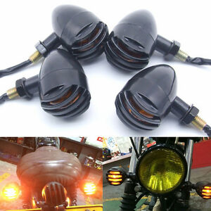 4x Motorcycle Black Turn Signals 12V Bullet Amber Indicator Lights E11 Certified