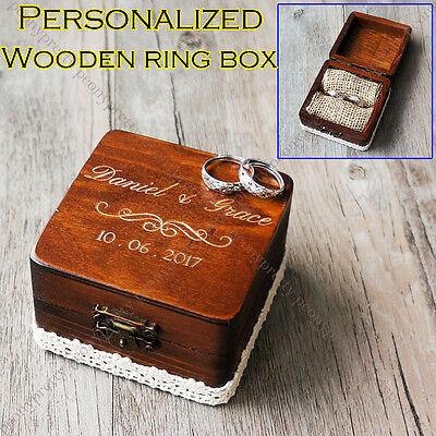 Personalized Square Wooden Retro Wedding Ring Box / Custom Ring Bearer Box Gift