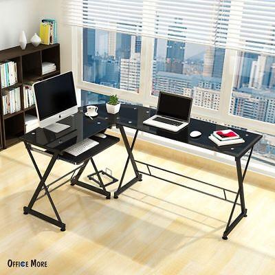 L-shape Concer Computer Desk Pc Laptop Table Workstation Glass Home Office Black
