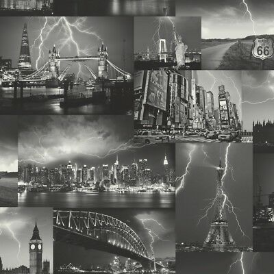 City Wallpaper Skyline Paris London New York Storm Collage Black White Holden