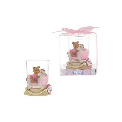 Mega Favors - Girl Teddy Bear on Horse Poly Resin Candle Set - Pink, 12PCS ()