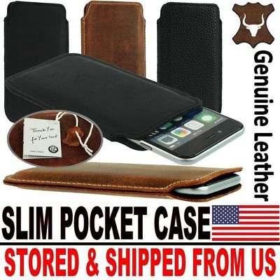 # SLIM PREMIUM GENUINE LEATHER POCKET CASE COVER SLEEVE POUC