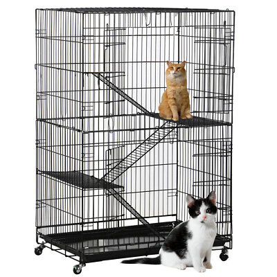 New Folding Collapsible Pet Cat Dog Wire Cage  Playpen Vacation L Silver