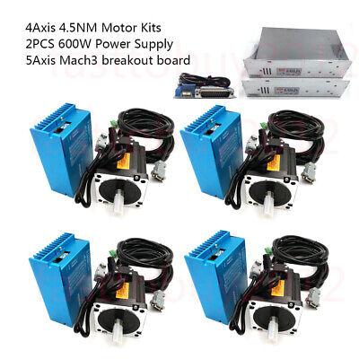 4axis 4.5nm Dsp Closed Loop Stepper Motor Drive 2pcs Power Supply Mach3 Board