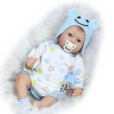 """22"""" Reborn Baby Boy Doll Newborn Baby Dolls Realistic Silicone Vinly Babys Doll"""