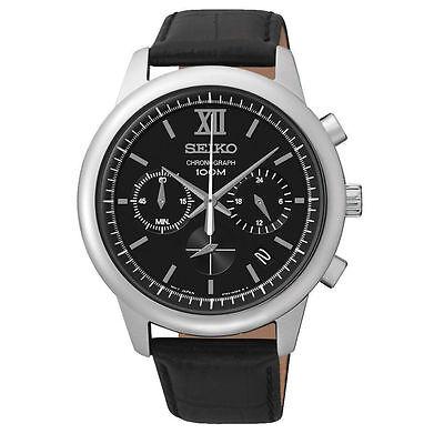 Latest Seiko SSB139P2 Chronograph Louring Dial Black Leather Strip Mens Watch