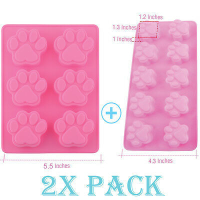 Silicone Mold Pet Paw Dog treat candy Ice cube Tray Chocolate Soap Set of TWO